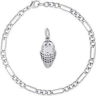 Sterling Silver Goalie Mask Charm Bracelet, 7