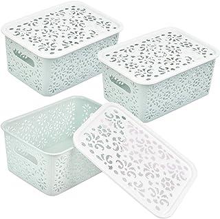 DODUOS 3 pièces Petit Panier de Rangement en Plastique avec Couvercle 21x16.5x10.4cm Boîte de Rangement en Plastique Petit...