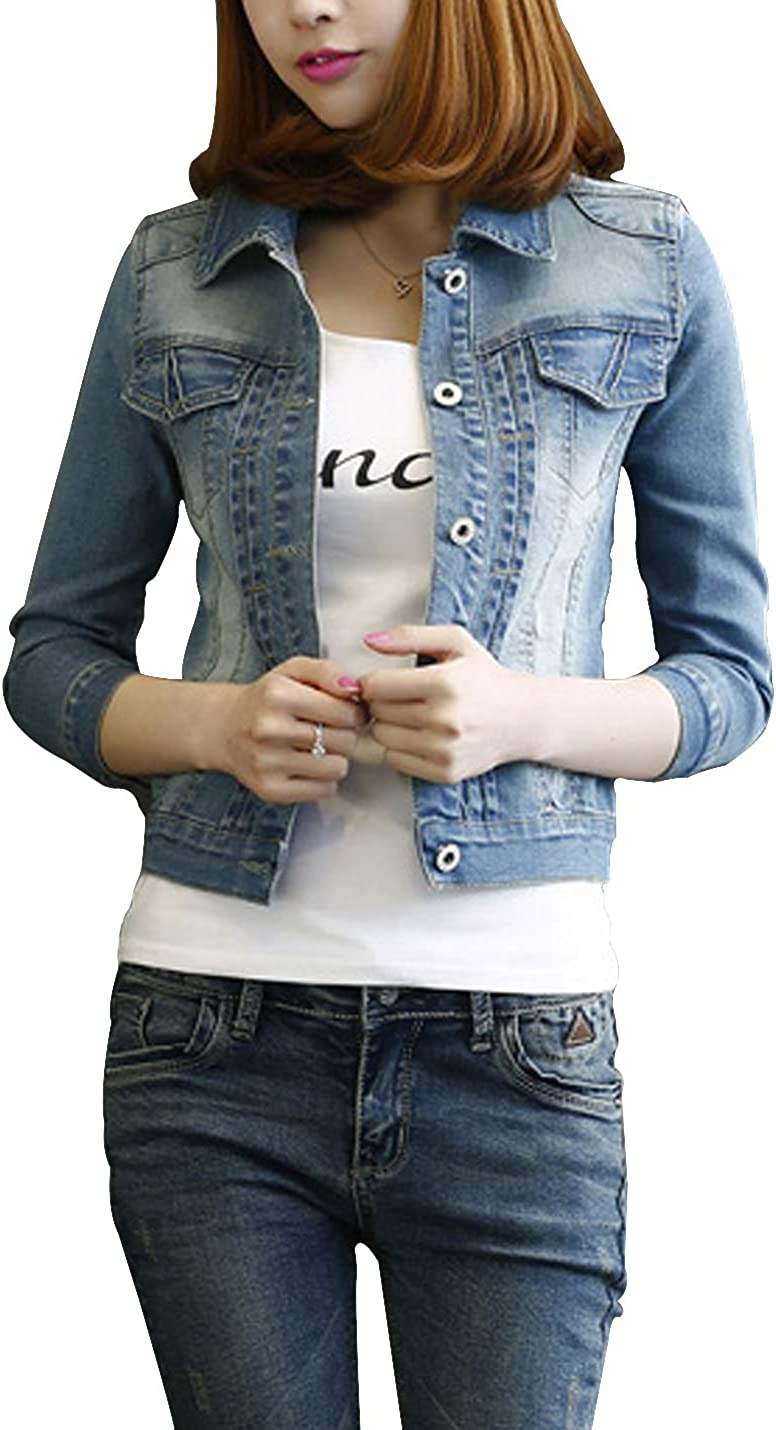 D.B.M Women's Slim Lapel Single Breasted 3/4 Sleeve Pleated Short Denim Jacket