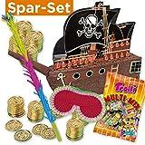 Pinata-Set: Pinata Piratenschiff + 144 Goldmünzen + Schläger + Maske + Süßigkeiten-Füllung Piratenparty Kindergeburtstag