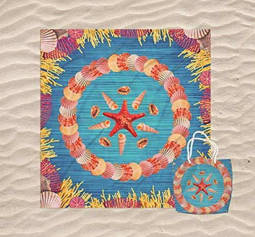 KN Toalla Playa Gigante para Mujer en Diseño de Impresos con Regalo de Una Bolsa Ideal para la Piscina o la Playa Colorido y Original 180 x 180cm (Estrella de mar)