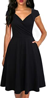Lyrur Women's Elegant Ruched V-Neck Flared A-Line Cap Sleeves Swing Casual Party Cocktail Dresses with Pockets