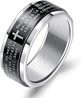LAFATINA Bible in English Lords Prayer Cross Spinner Ring Men's Womens Stainless Steel Religious Black Cross Fidget Bands ...