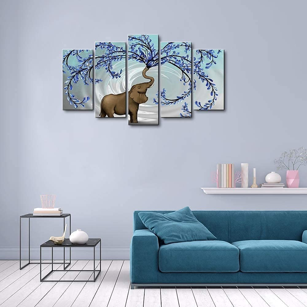 Unframed 5 Panel Blue Discount is also underway Tree Long Beach Mall Painting Wall Art Elephant with