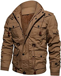 Heyean Jackets for Men Parkas Men Thick Warm Casual Solid Color with Zipped Outwear Jackets Hooded Coats Cap Removable for Winter
