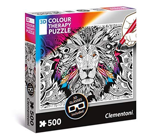 Clementoni- Color Lion Therapy Puzzle 3D, Multicolore, 500 Pezzi, 35051