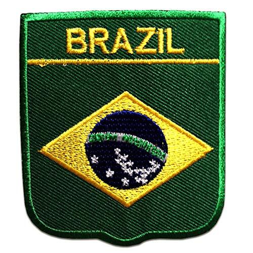 Brasilien Flagge Fahne - Aufnäher, Bügelbild, Aufbügler, Applikationen, Patches, Flicken, zum aufbügeln, Größe: 6,5 x 7,5 cm
