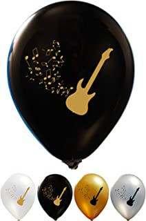 Guitar Balloons - 12 Inch Latex - 2 Sided Print (16 Count) for Birthday Parties or Any Other Event Use - Fill with Air or Helium