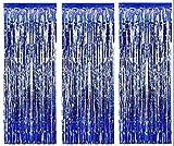 Paquete de 3 láminas malla metálica cortinas hoja del brillo puerta cortina Decoración ventana para el banquete de boda de cumpleaños suministros 92 * 245cm - Azul Oscuro