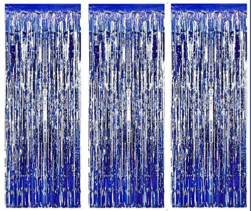 AILEXI 3 Pack Metall Lametta Vorhänge Folie Fransen Schimmer Vorhang Tür Fenster Dekoration für Geburtstag...
