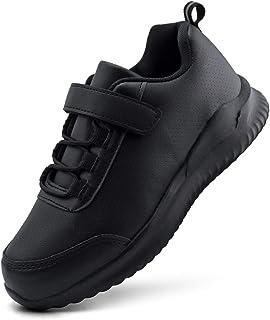 Sponsored Ad - brooman Kids White School Sneakers Black Uniform Shoes