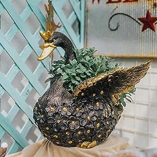 Garden Ornament Plant Pot Planter Swan Bird Wildlife Decoration Outdoor Indoor Container,Black