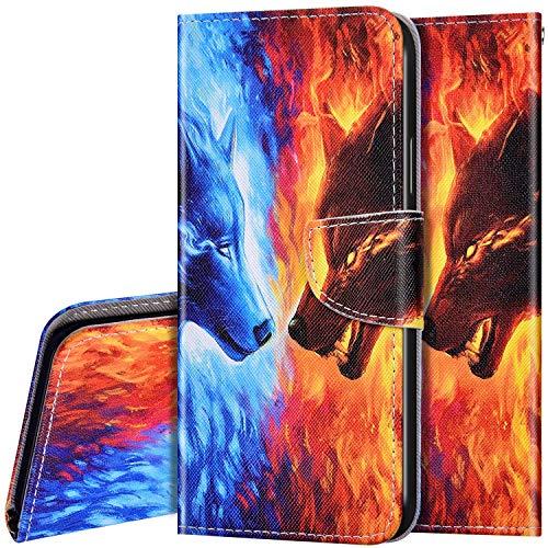Schutzhülle für Huawei P40 Lite 5G Hülle Handyhülle Leder Klapphülle Bunt Retro Muster Handytasche Flip Brieftasche Schutzhülle Magnet Wallet Case Tasche Lederhülle für Huawei P40 Lite 5G,Wolf