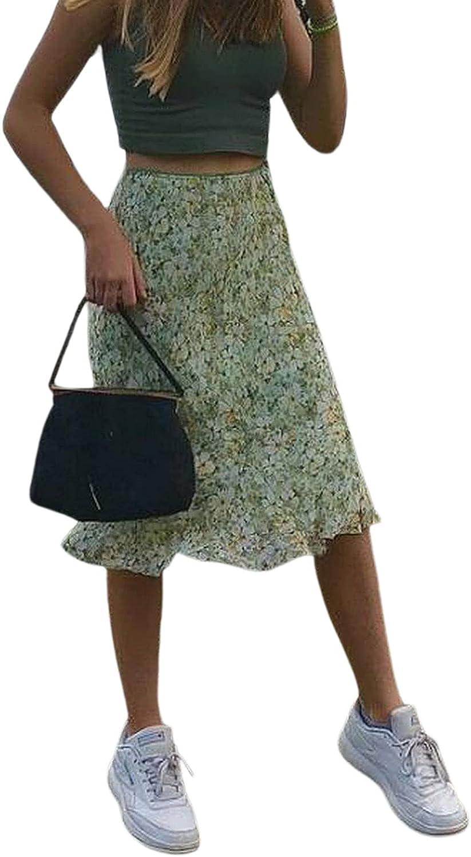 Women's Boho Floral Skirt Plaid Elastic A-Line Swing Midi Skirt Beach Bodycon Long Pencil Skirt Y2K Streetwear