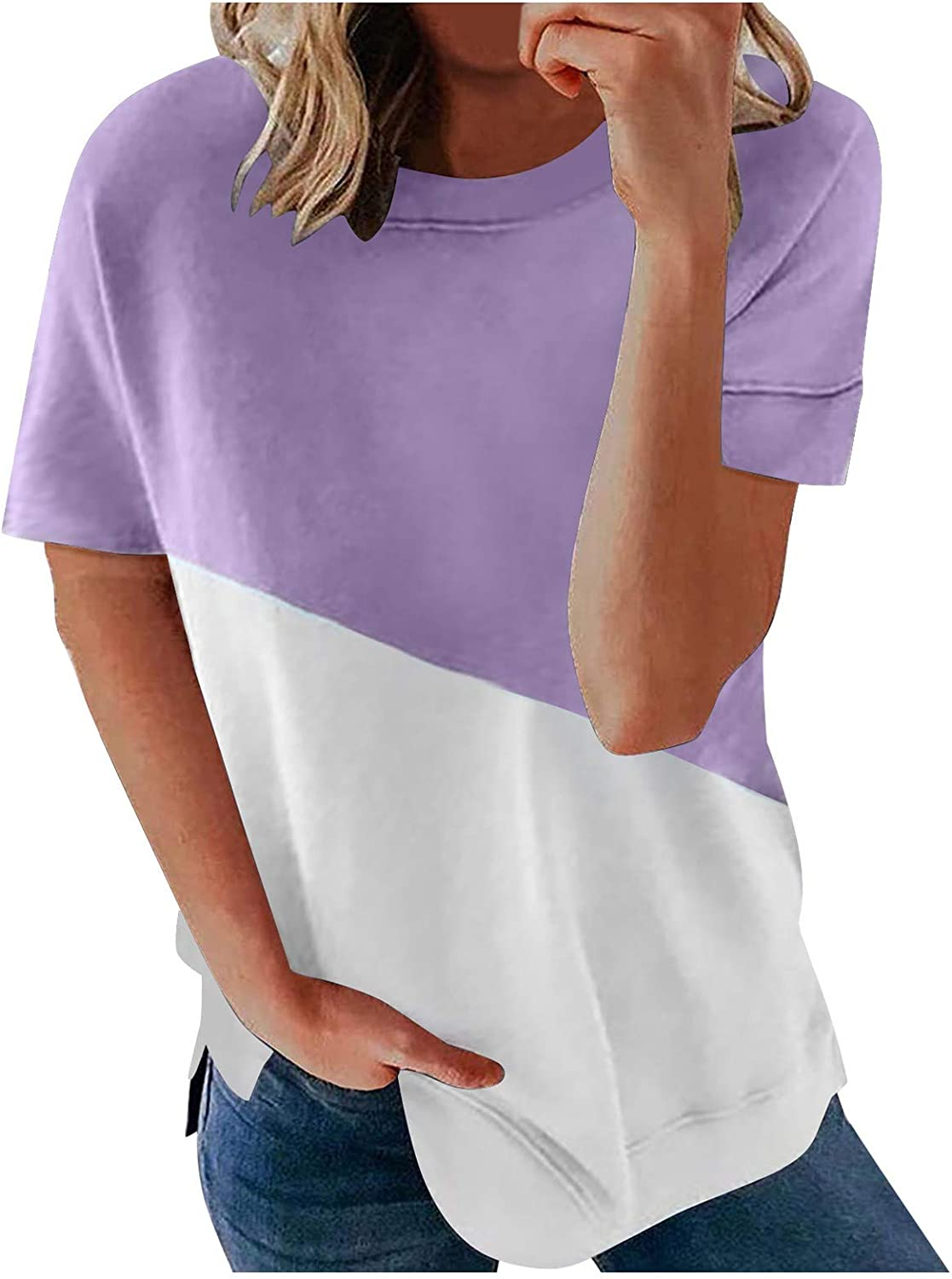 Womens Tops Clearance Under 10.00 Women's V-Neck Summer Casual Letters Printed Short Sleeves Graphic T-Shirt Purple
