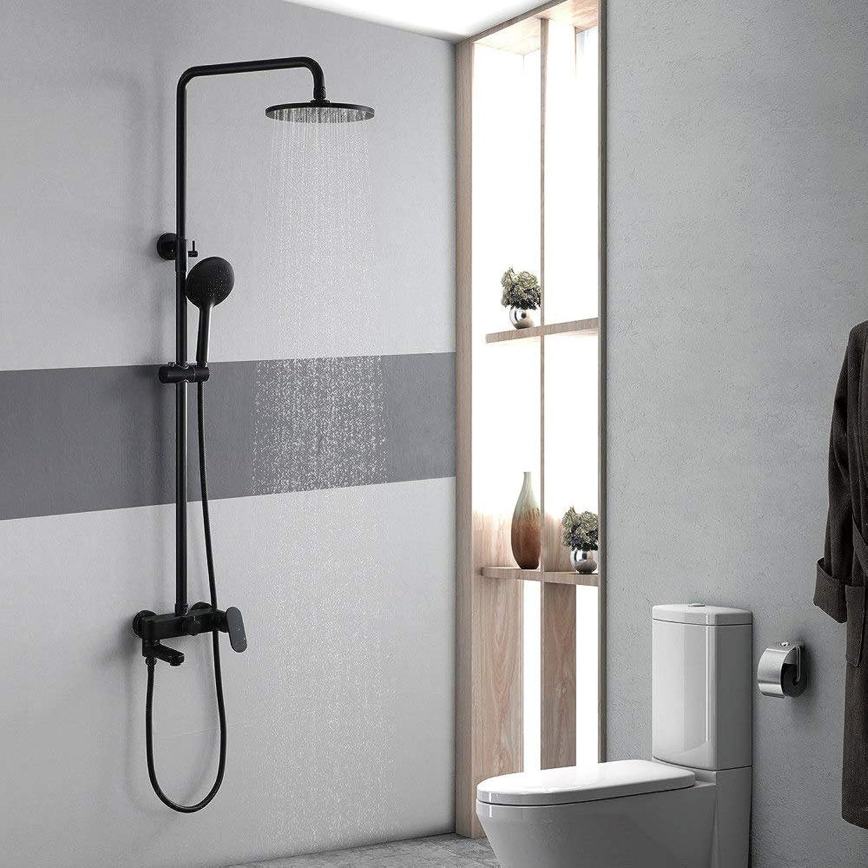ZHHID Badezimmer Duschsystem - Rund Duschkopf aus ABS - Schwarzes Duschset mit heiem und kaltem Wasser