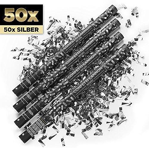 PartyMarty 50 x XXL Konfetti-Shooter Silber 80cm   - Party Popper Konfettikanone Konfettishooter Streamer - für Silvester, Hochzeit, Party, Geburtstag & Co GmbH
