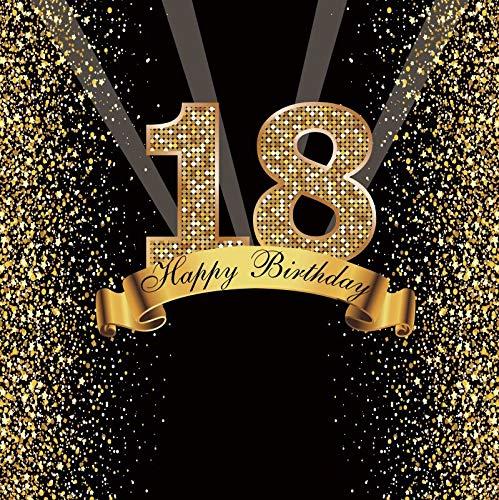 Happy Sweet 18 25 30 40 50 55th Fiesta de cumpleaños Gold Dot Party Banner Foto de Fondo Foto teléfono Foto telón de Fondo Foto A35 2,1x1,5 m