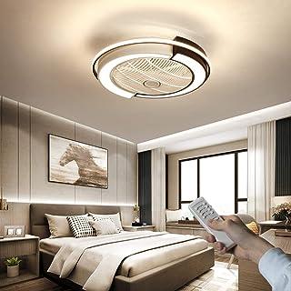 Ilucky Ventilador de Techo Lámpara de Techo, Moderna LED Ventilador De Techo Control Remoto de Correa Regulable Decoración de Interiores Plafón de Techo lluminación,Black and White,58cm 45W