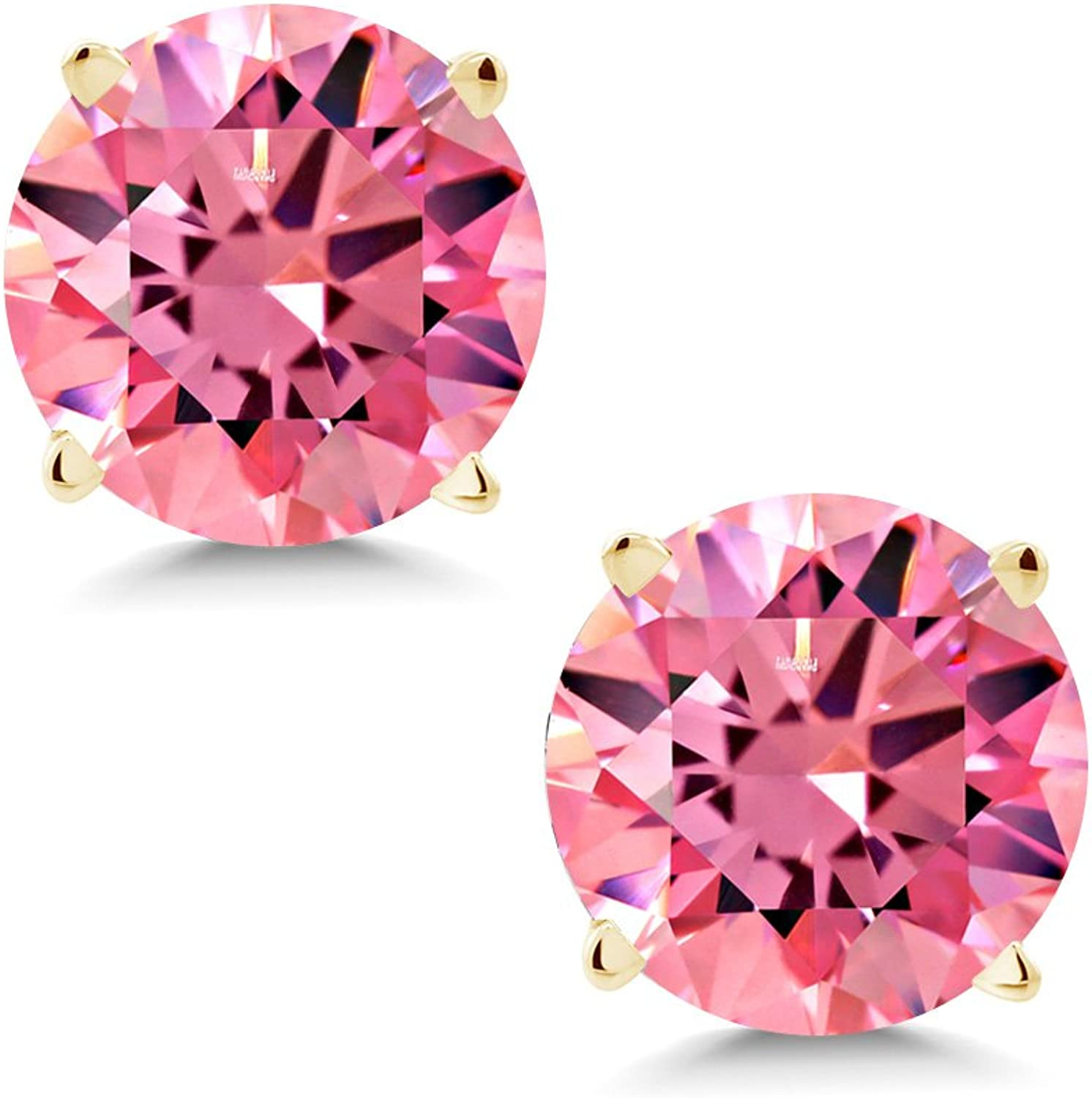 1.68 Ct Fancy Pink 14K Yellow gold Earrings Made With Swarovski Zirconia