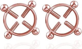 Body Piercing Rings,IrBingNii Women Shields,Screw Body Piercing Jewelry Adjustable Circle,None Piercing (Rose Gold)