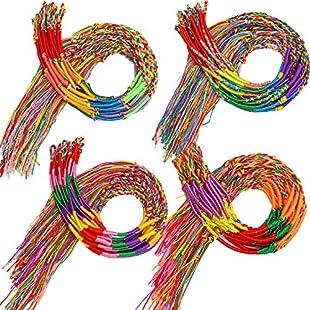 Elcoho 80 Pieces Colorful Handmade Braided Bracelets Assorted Friendship Thread Bracelets for Wrist Ankle Random Colors Party Supply:Tudosobrediabetes