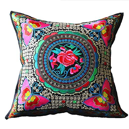 PangTuZiYin Almohada Bordada de Estilo Chino Tradicional, Almohada Decorativa para el hogar, Funda de cojín para sofá, decoración de Almohada