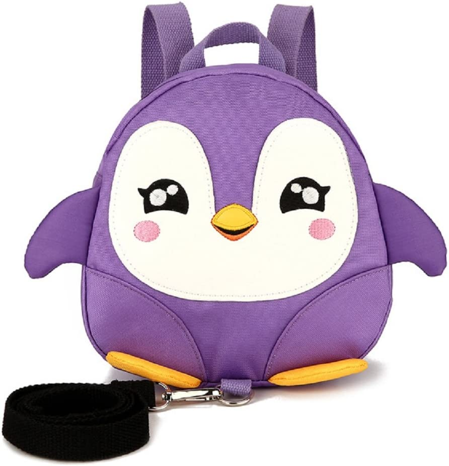 Cute Penguin Pattern Baby Walking Safety Harness Backpack Ultralight Anti-lost Toddler School Bag With Safety Leash (purple)