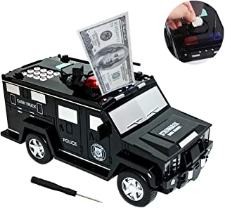 UCHOOSE Electric Piggy Bank, Portable Car Mini Strongbox with Password / Music /Fingerprint , Auto Scroll Cash Coin Money Box for Adults and Kids (AA Battery no Included)