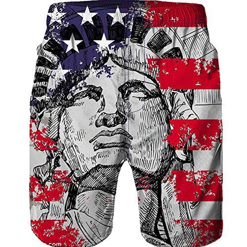 FRAUIT heren beachshort Amerika vlag zwembroek 3D Star Printed strandbroek werk casual mannen korte broek broek broek broek sportbroek regular fit outdoor broek vrijetijdsbroek Hawaii korte broek