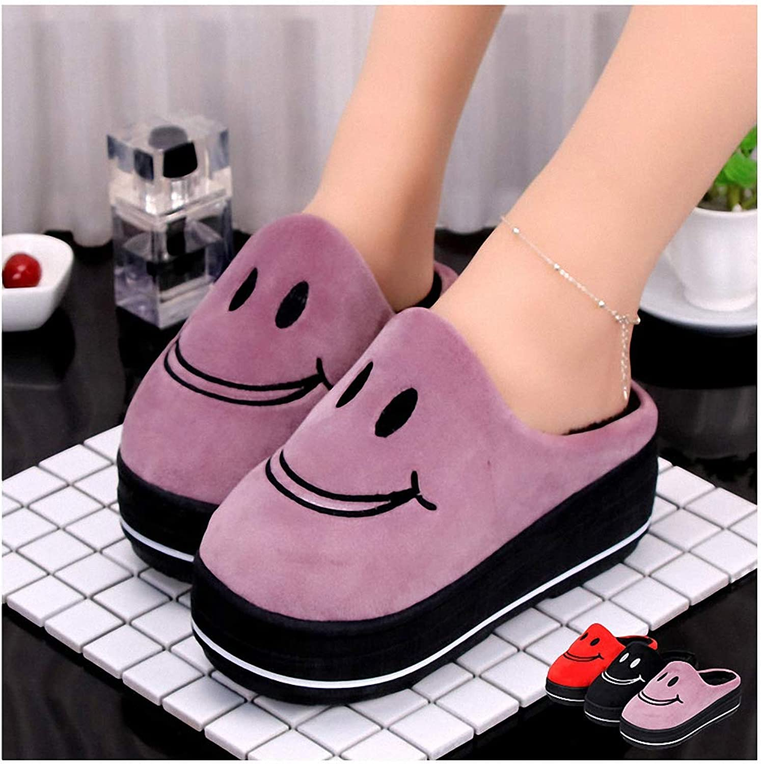 Womens Slippers Winter Cotton Slippers Cute Smiley High Heel Built-in Plush Slippers Keep Warm Home Slip Non-Slip Wool shoes Wool Increase 5cm