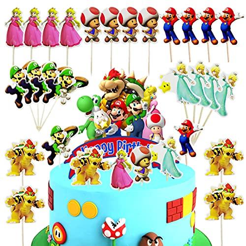25 stycken Super Mario tårta set, födelsedag kaka toppare Mario scen teman tårta för födelsedag event partytillbehör svart glitter