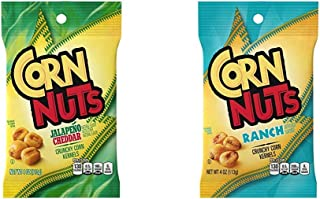 Corn Nuts Jalapeno Cheddar Crunchy Corn Kernels (4 oz Bags, Pack of 12) & Ranch Crunchy Corn Kernels (4 oz Bags, Pack of 12)