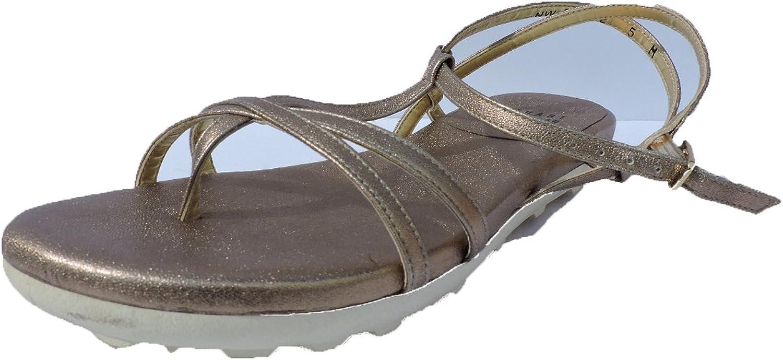 Stuart Weitzman Kittyliso Women's Ale Metallic Flats Leather Slide Sandals Size 8 Narrow,AA