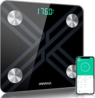 Body Fat Scale, HAWANA Large Size 28x28cm Digital Body Weight Scale, Large LED Display, High Precision Smart Bathroom Scal...