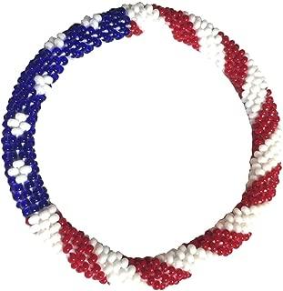 WigsPedia Crochet Glass Seed Bead Nepal Boho Bracelet - USA Flag