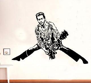 QQCYWZK Chuck Berry Pegatina de Pared Poser Guitarrista Estadounidense Cantante Vinyl Decal Rock a 57x84cm