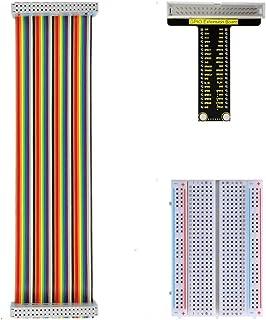 KEYESTUDIO GPIO Breakout Kit for Raspberry Pi - Assembled Pi Breakout + Rainbow Ribbon Cable + 400 Tie Points Solderless B...