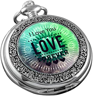 VIGOROSO Pocket Watch for Women Her Wife Mom Engraved I Love You Forever, Personalized Pendants for Mother's Day Birthday ...