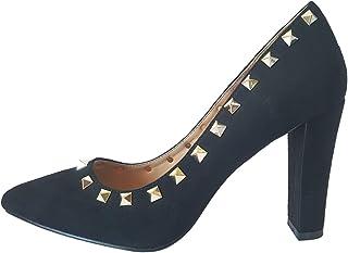 Bellatotti Primavera Black Scarpin Pumps Pointed Toe Chunky High Heels