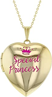 Heart Shaped Photo Locket Pink Special Princess Crown Girls Pendant Necklace 16