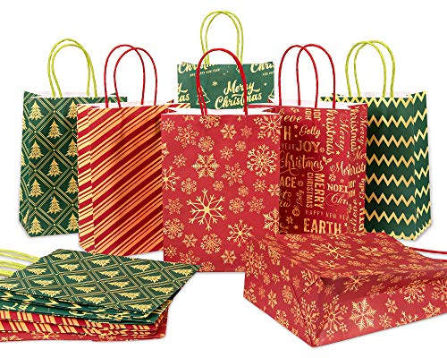 Whaline 24pcs Christmas Gift Bags Red Green Kraft Paper Bag Bulk Gold Foil Xmas Tree Snowflakes Goodie Bags Reusable Grocery Candy Treat Bags for Christmas Party Favor, 6 Design, 3.1 x 6.3 x 8.7'