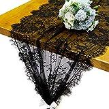 RUSPEPA Tessuto di Pizzo Nero Rustico - Tessuto Vintage per Festa di Nozze, Decorazione Domestica, Veli da Sposa, Runner da Tavola - 75 CM X 300 CM
