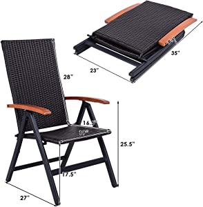 Casart Rattan Folding Recliner, Adjustable Patio Lounge Chair with Eucalyptus Handrails and 5 Adjustment