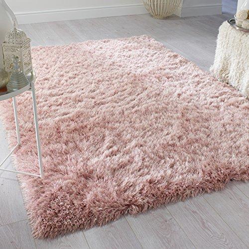 eRugs Flair Rugs Contemporaneo Profonda Spessore qualità ciuffi a Pelo Lungo in Tinta Unita Shaggy tappeti/Moquette tappeti, Blush Pink–120x 170cm