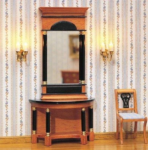 MiniMundus Biedermeier Spiegel mit Wandtisch für das Puppenhaus, Bausatz