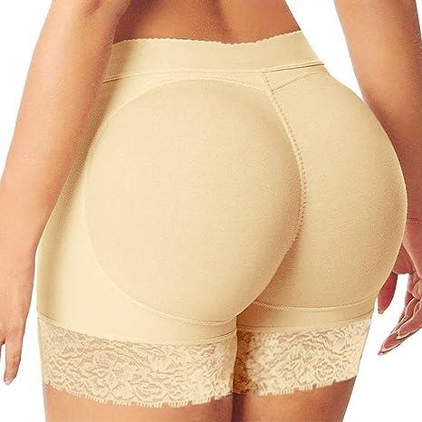 ZZBB Damen Control Knickers Mid Rise Hip Enhancer Gepolstert Ges/ä/ß Weich H/öSchen Fake Ass Unterw/äSche Sicherheit Kurze Hose Butt Lifter