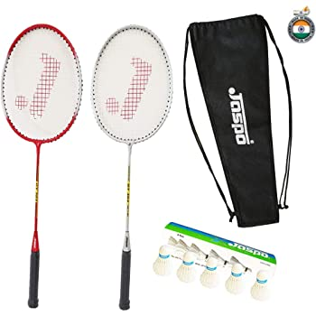 Jaspo GT 303 Intact Sliver/Red Badminton Set(2 Badminton Racket, Feather Shuttle Cork,Carry Bag)