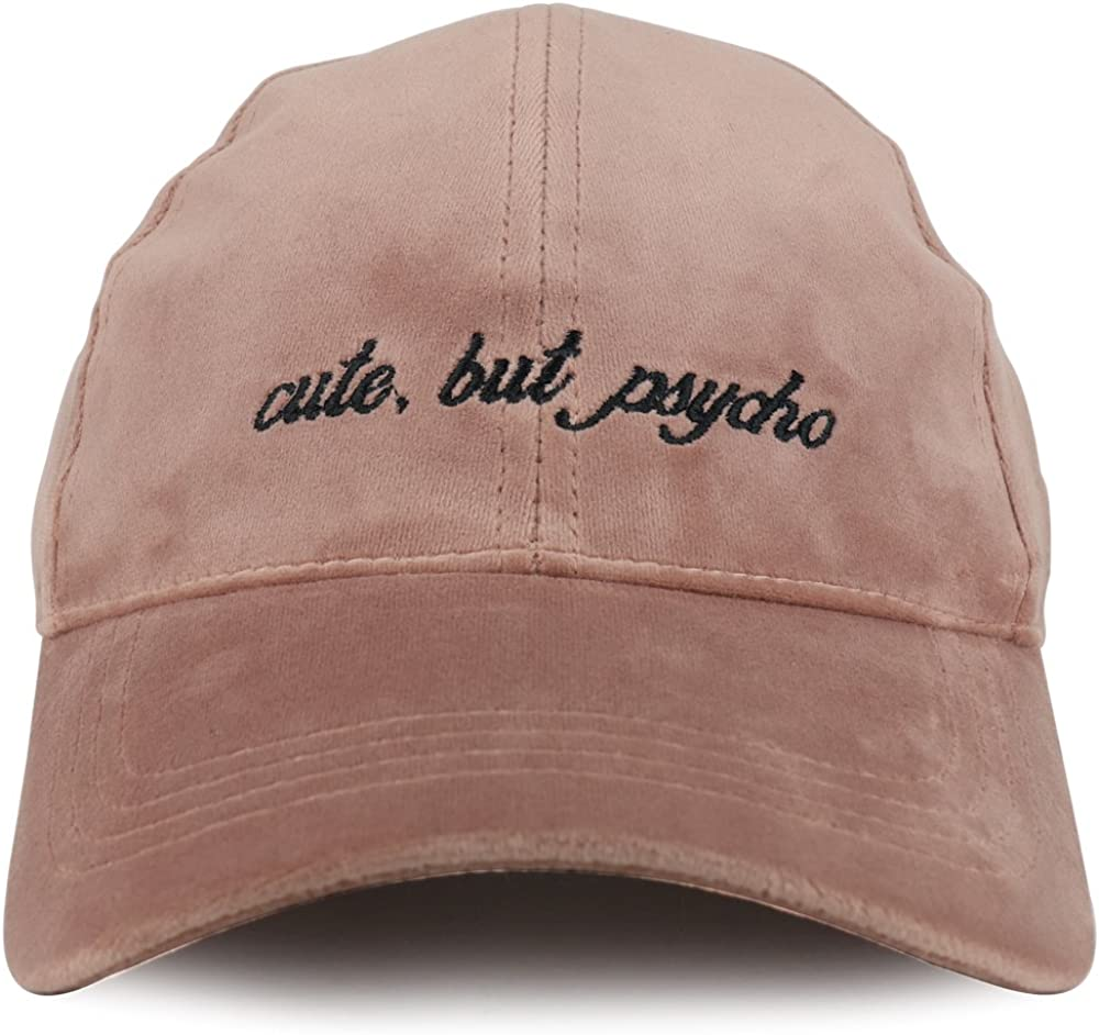 Trendy Apparel Shop Cute but Psycho Embroidered Structured Velvet Adjustable Baseball Cap