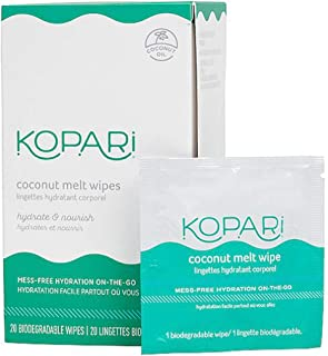Kopari Coconut Melt Wipes 20 Count! Infused With 100 Percent Organic Coconut Oil! Nourishes, Hydrates, And Protects Sensitive Skin! Vegan, Cruelty-Free, And Gluten-Free! (1 Pack)